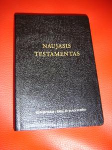 Lithuanian Catholic New Testament, 2006 Edition / Naujasis Testamentas: Komentarai - Prel. Antano Rubsio / Black Leather with Cross Reference, Ribbon Marker