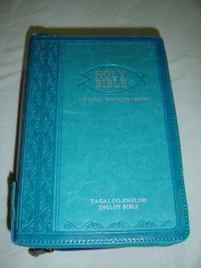 Azure Blue Tagalog – English Bilingual Bible, 2011 Print / Leather Bound, Zipper, Silver Edges, Diglot / Ang Banal Na Kasulatan Tagalog - KJV 055