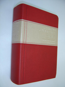 ENGLISH Chrisitian Community Bible (CCB), Catholic Pastoral Revised Edition 2013 / Red-Beige Leather with Gold Edges and Thumb Index