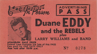 DUANE EDDY AND LARRY WILLIAMS ADVERTISING PASS TICKET