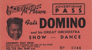 FATS DOMINO ADVERTISING PASS TICKET