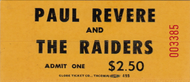 PAUL REVERE AND THE RAIDERS TICKET STUBS