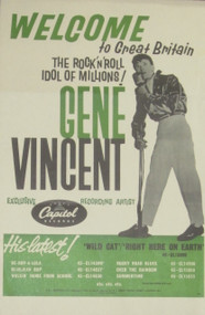 GENE VINCENT: WELCOME TO GREAT BRITAIN POSTER REPRO