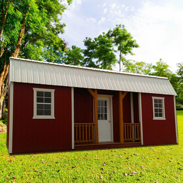 Shown in 12' x 20' size with Barn Red painted siding, White painted trim, and Alamo White metal roof.