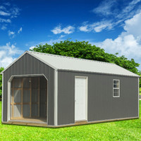 Shown in the 12' x 24' size with Charcoal Z-Metal siding, Alamo White trim, and Alamo White metal roof.