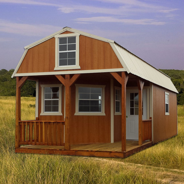 Shown in the 12' x 34' size with optional additional windows and 8-foot walls, with Cedar urethane siding, White painted trim, and Alamo White metal roof.