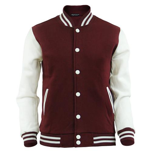 Men's Sweatshirt Baseball Jacket Varsity,Letterman Jacket Wine Cotton Jacket