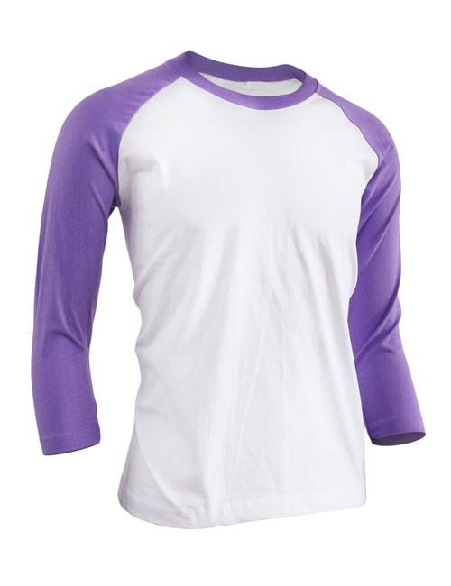 BCPOLO Unisex casual round neck t-shirt 3/4 sleeve 2 tone color Raglan t-shirt cotton comfortable t-shirt.-purple