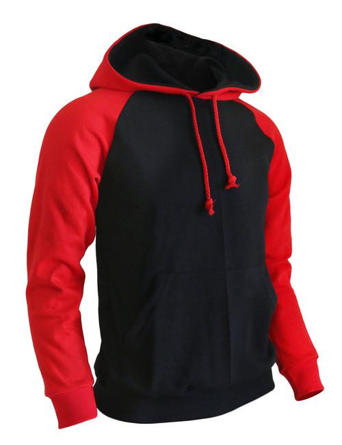BCPOLO Casual Men Hoodie t- shirt 2 tone Raglan hoodie t-shirt (black)