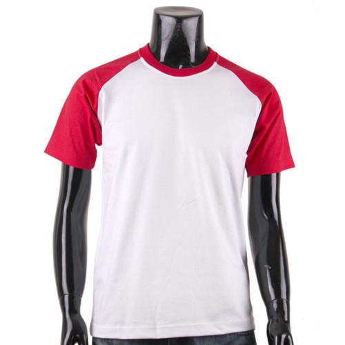 BCPOLO Casual  2 Tone White-Red Raglan Crew Neck Short Sleeves Shirt