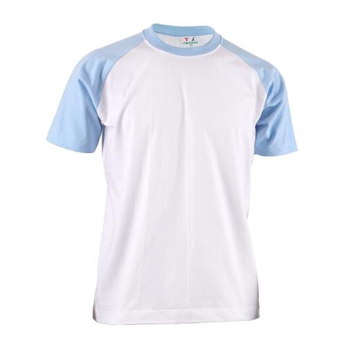 BCPOLO Casual  2 Tone White-Sky Raglan Crew Neck Short Sleeves Shirt