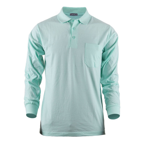 BCPOLO MEN'S LONG SLEEVES COTTON SOLID POLO SHIRT(Light Bluish Green)
