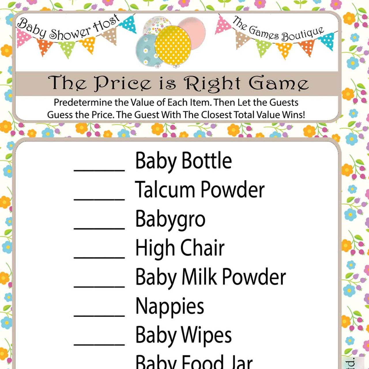 Baby Shower Price Is Right Game (8)