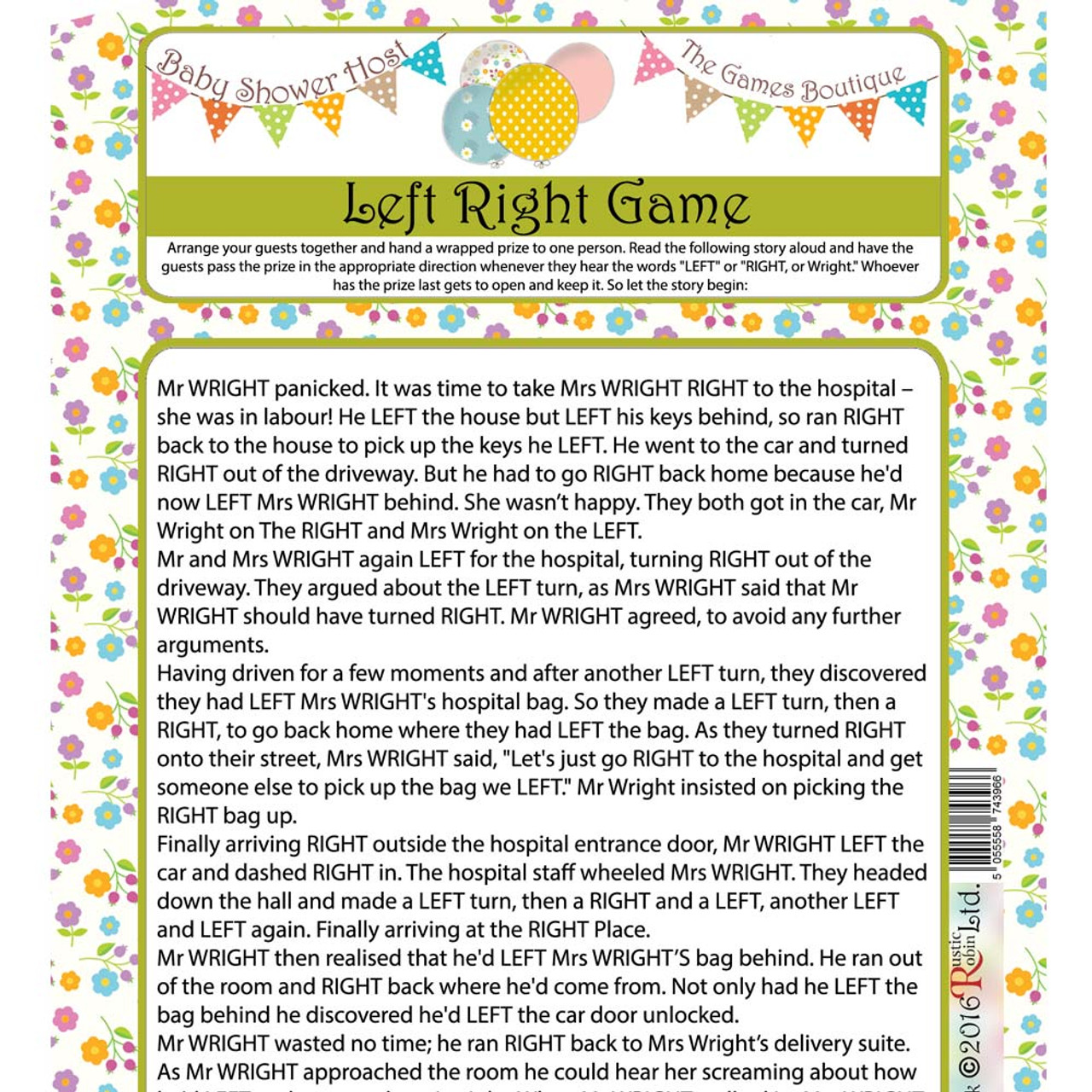 The Left Right Baby Shower Game - Party Time Baby