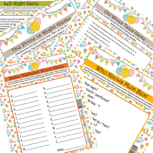 Baby Shower Games Bundle of 5 (16 Guests)