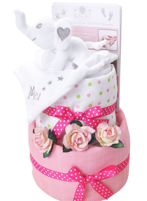 2 Tier Baby Moi Girl Swaddle Nappy Cake