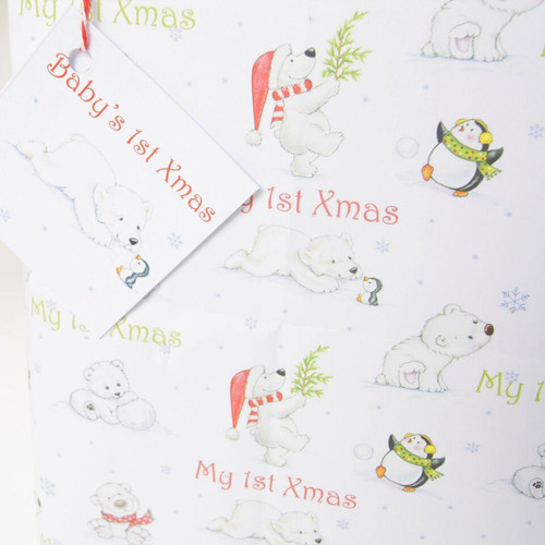 Baby's 1st Xmas Wrapping Paper Polar Bear with Gift Tag (4 sheets)
