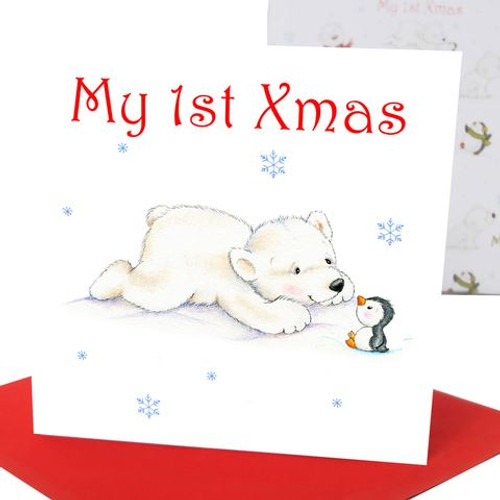 Baby's 1st Xmas Greeting Card Polar Bear