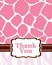 Girl Safari Pink Baby Shower Thank You Cards (8)