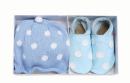 100% Polka Dot Blue Hat And Shoes Gift Set