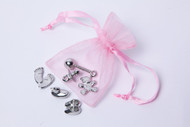 6 Cute Baby Charms In Pink organza bags