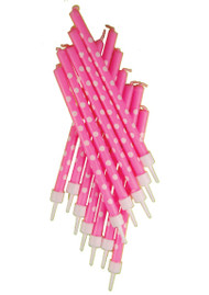 Hot Pink Polka Dot Cake Candles (12)