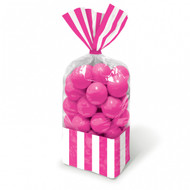 Candy Buffet Striped Party Bags Bright Pink (10)