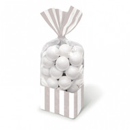 Candy Buffet Striped Party Bags Silver (10)