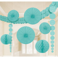 Robin Egg Blue Damask Room Decorating Kit