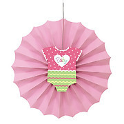 Pink Dots Baby Shower Fan Decoration (12In)