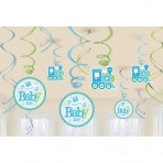 Welcome Baby Boy Swirl Decorations (12)