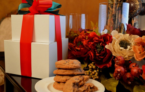 Our regular gift tower of gourmet cookies and brownies makes any holiday table festive