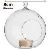 Hanging Clear Glass Ball Candle Tealight Holder - 8cm Sphere Globe bauble