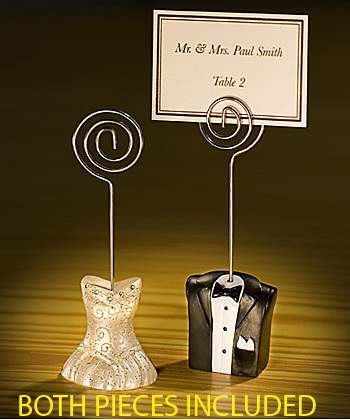 Bride Gown and Groom tux Name Card Place Stand Wedding Party