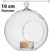 Hanging Clear Glass Ball Candle Holder - 10cm - wedding globe decoration