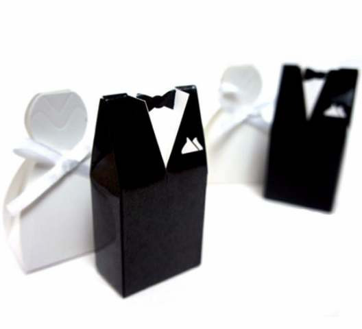 Bride Gown and Groom Tux Bomboniere Favor Box set NW