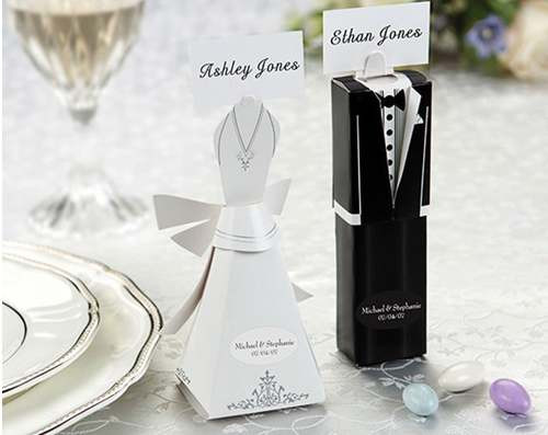 Bride Gown and Groom Tux Bomboniere Favor Box set Kate Aspen Desi