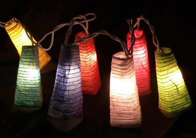 Chinese Paper Lantern Coloured Fairy Lights on a 10 Metre Wire String