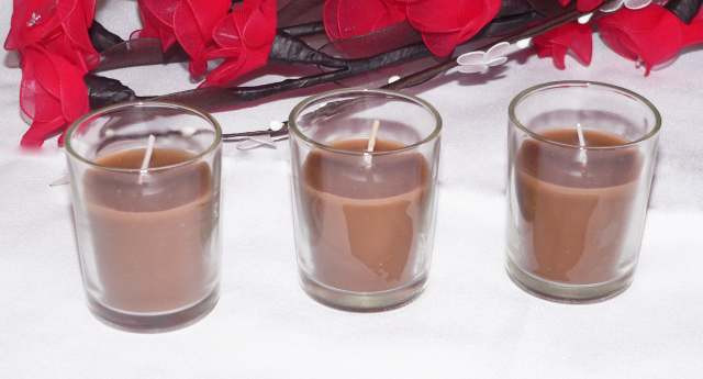 Brown Wax Candle in Glass Votive 6cm Holder