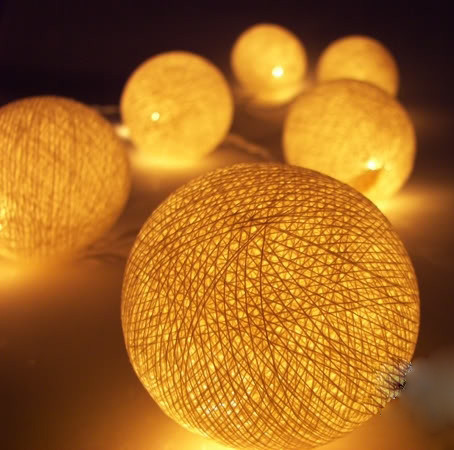 Canary Yellow Big Cotton Ball Garden Party fairy lights