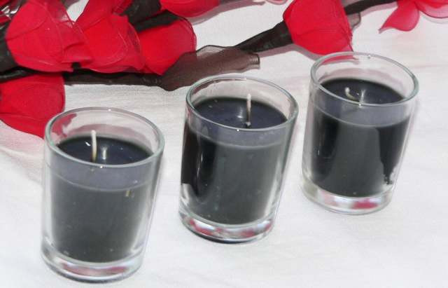 Black Wax Clear Glass Votive Table Candle Noir Gothic Ball Party