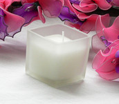 Square frosted glass 5cm wedding planner candle