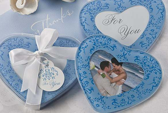 Blue Heart Shaped Christening Shower Wedding Bomboniere Glass Coaster