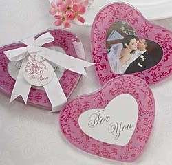 Baby Girl Pink Heart Shaped Christening Shower Wedding Bomboniere Glas