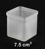 7.5cm Square Cube Frosted Glass Tealight Candle Holder Wedding Table