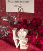 White LOVE Letter Name Card Place Silver Stand - Wedding Table