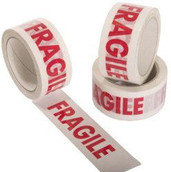 Fragile Print Packing Cellotape Red print on White Roll - 48mm wide 66 metres Long - Excellent for sealing boxes for postage or removal
