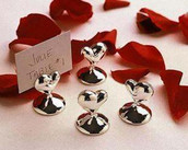 Silver Heart name card stand table place setting wedding