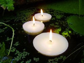 8cm Large White Wax floating candle - 6 long burn time