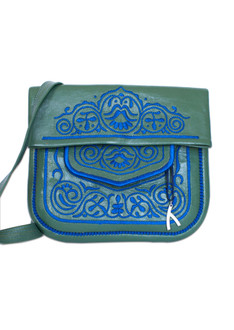 Green and blue leather berber bag